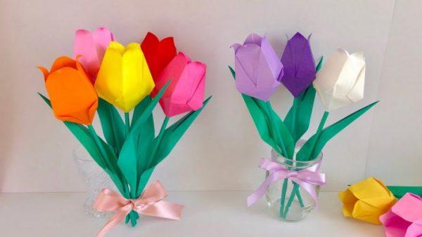 Cách gấp hoa tulip bằng giấy đơn giản siêu đẹp